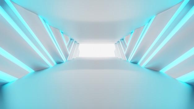 Futurystyczny tunel pusty. podświetlany projekt korytarza, świecące światła neonowe, renderowanie 3d