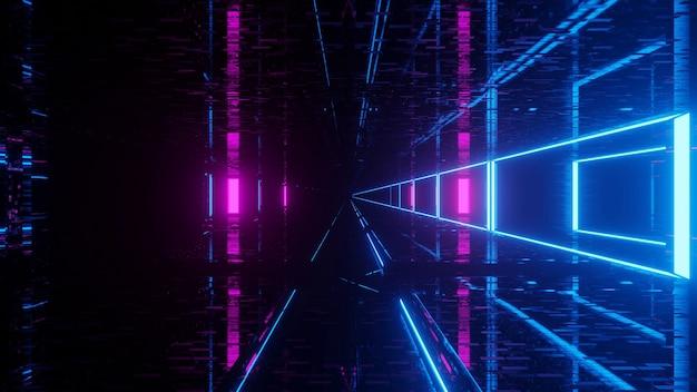 Futurystyczny tunel science-fiction ze świecącymi światłami