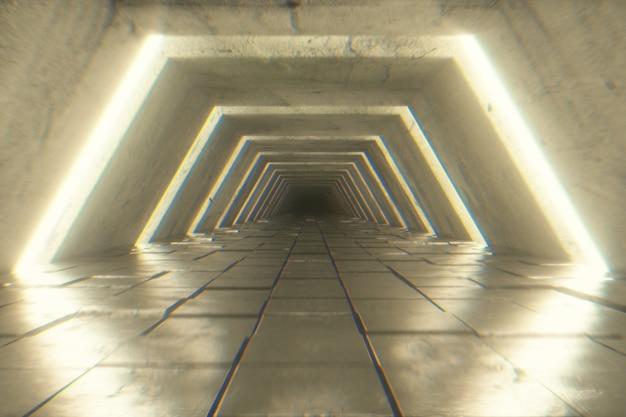 Futurystyczny tunel z fluorescencyjnym światłem ultrafioletowym