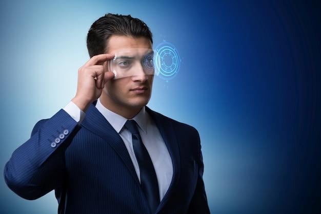 Futurystyczny wizja koncepcja z biznesmenem