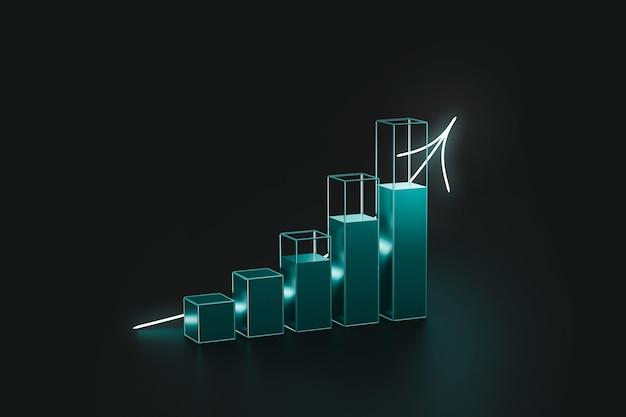 Futurystyczny wykres finansowy przedstawiający zysk i ekonomię