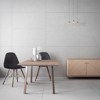 Gabinet i betonowa ściana / wnętrze renderowania 3d