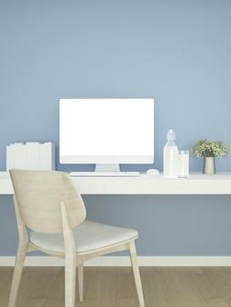 Gabinet i niebieskie ściany udekoruj dzieła sztuki