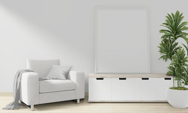 Gabinet woon japoński minimalny design na pustym pokoju wnętrza. renderowanie 3d
