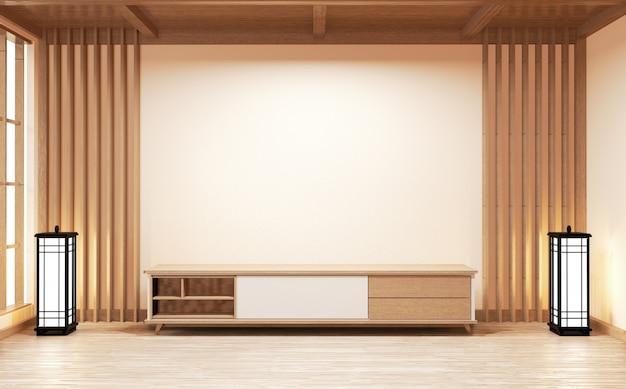 Gabinetowy drewniany japoński styl na żywej izbowej minimalnej biel ścianie .3d rendering
