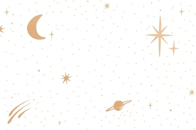 Galaktyczne złote gwiaździste niebo na białym tle