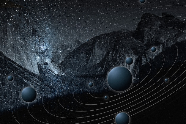 Galaxy natura estetyczne tło gwiaździste niebo góra zremiksowane media