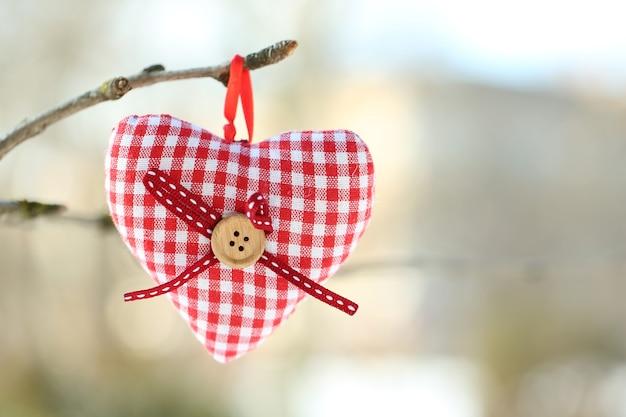 Gałąź drzewa z dekoracją serca na niewyraźnej zieleni