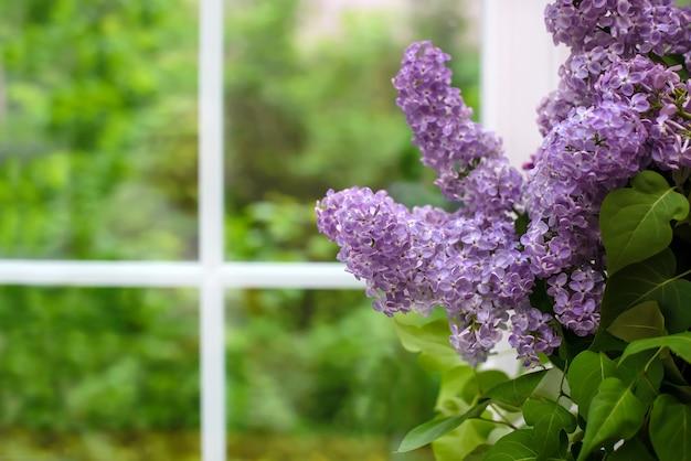 Gałąź fioletowego bzu z bukietu na parapecie w domu zbliżenie