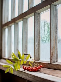Gałązka jarzębiny na mokrym drewnianym oknie wsi