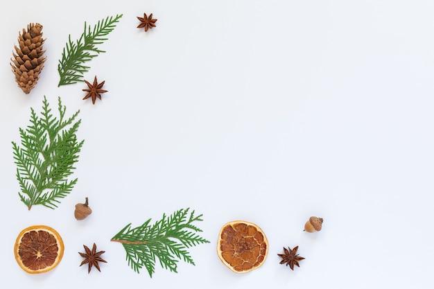 Gałązki jodły i anyż, szyszka drzewa z suchymi cytrusami na białym tle, tło wakacje świąteczne, leżak płasko, miejsce na kopię