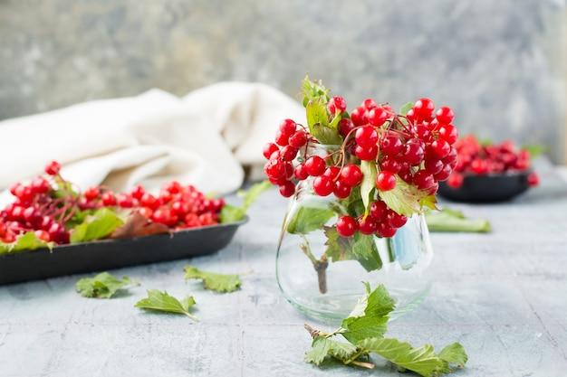 Gałązki z dojrzałymi jagodami i liśćmi kaliny w słoiku i na podłożu w tle na stole. wellness, medycyna alternatywna i odżywianie witaminami