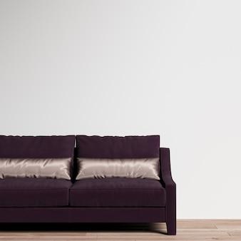 Galeria wnętrz makiet ściennych z fioletową sofą