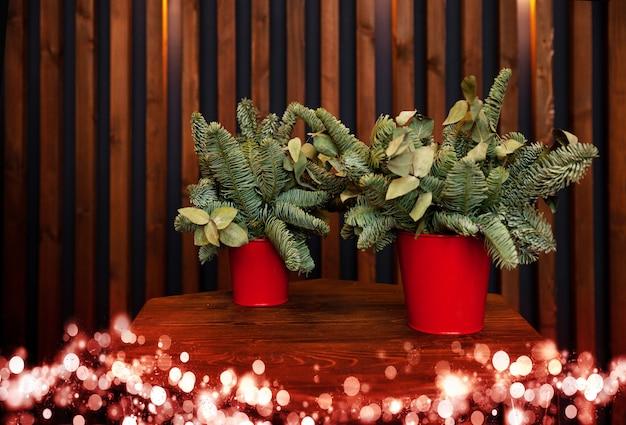 Gałęzie jodły w czerwonym wiadrze na tle drewnianej ściany, świąteczny wystrój