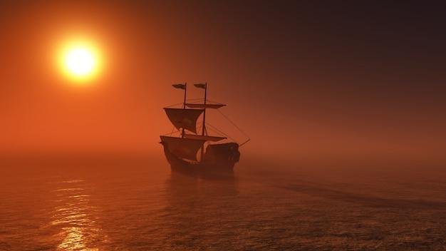 Galleon żeglowanie przez morze