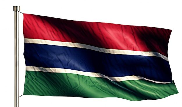 Gambia flaga narodowa pojedyncze 3d białe tło