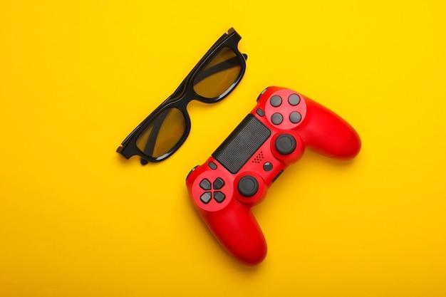 Gamepad, okulary 3d na żółto