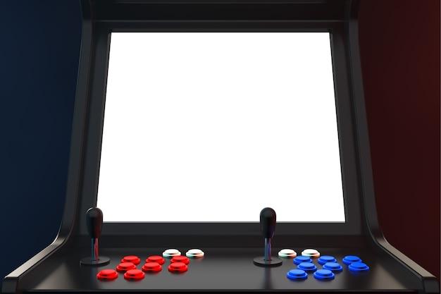 Gaming arcade machine z pustym ekranem do ekstremalnego zbliżenia twojego projektu. renderowanie 3d.