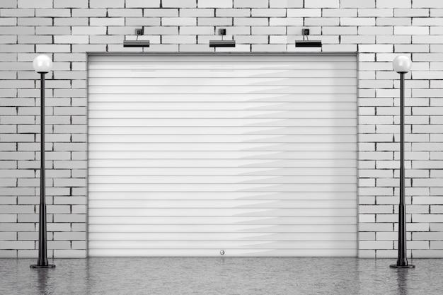 Garaż rolling shutter gate door z ceglanym murem i oświetleniem ulicznym ekstremalnym zbliżeniem. renderowanie 3d