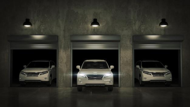 Garaż z otwartą rolowaną bramą rendering 3d
