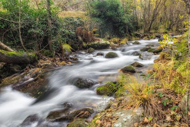 Garganta san gregorio. krajobraz w pobliżu aldeanueva de la vera, caceres. extremadura. hiszpania.