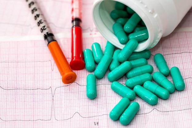 Garnek ze strzykawką i tabletkami