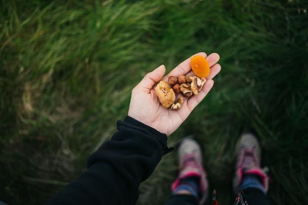 Garść zdrowych orzechów, rodzynek i suszonych owoców na świeżym powietrzu w dziczy. szybka przekąska podczas wędrówki po górach.