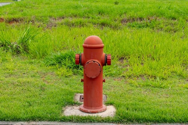 Gaśnica pomalowana na czerwono pośrodku trawy