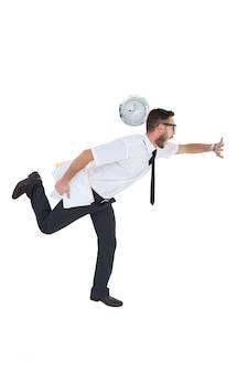Geeky młody biznesmen spóźniony