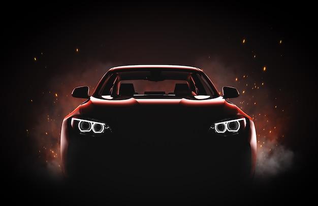 Generyczny i pozbawiony brandów nowoczesny samochód sportowy z ogniem i dymem
