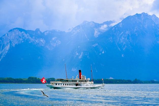 Geneve lake leman statek parowiec szwajcaria