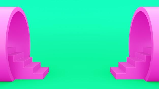 Geometria abstrakcyjna. schody z fajki różowe. minimalistyczne zielone tło