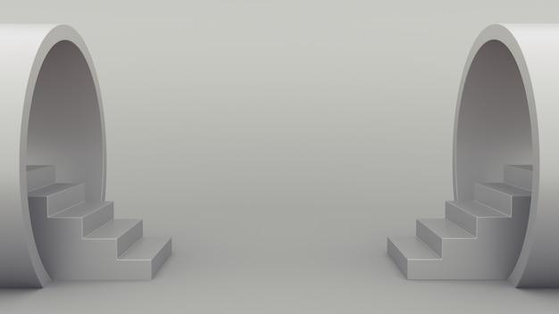 Geometria abstrakcyjna. schody z rury.