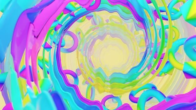 Geometria holograficzna z promienistym tłem do reklamy w retro i holograficznej scenie lat 80.