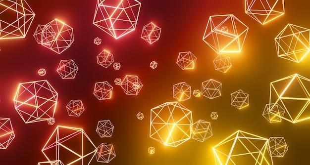 Geometria technologia cyfrowa struktura sześciokąt na czarnym tle