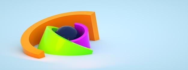 Geometryczna kompozycja z kolorowych elementów, renderowanie 3d, panoramiczny układ z miejscem na tekst
