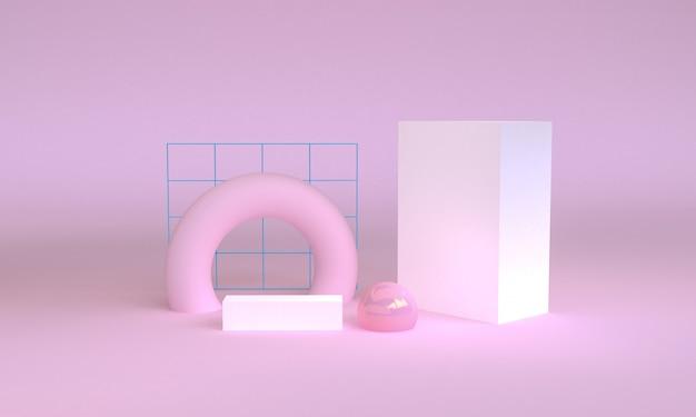 Geometryczna kształt scena minimalna, 3d rendering.