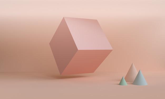 Geometryczna kształt sceny minimalny styl, 3d rendering.