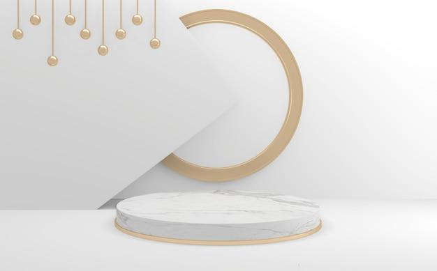 Geometryczna makieta w stylu pustego białego podium. renderowanie 3d