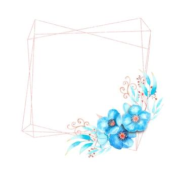 Geometryczna rama z niebieskimi kwiatami ciemiernika, pąkami, liśćmi, ozdobnymi gałązkami na na białym tle. bukiet na dole ramy. akwarela ilustracja.