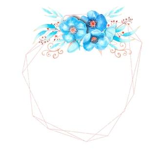 Geometryczna rama z niebieskimi kwiatami ciemiernika, pąkami, liśćmi, ozdobnymi gałązkami na na białym tle. bukiet na górze. akwarela ilustracja.