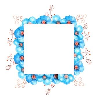 Geometryczna rama z niebieskimi kwiatami ciemiernika, pąkami, liśćmi, ozdobnymi gałązkami na na białym tle. ilustracja akwarela, ręcznie robione.