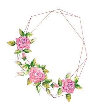Geometryczna ramka ozdobiona kwiatami