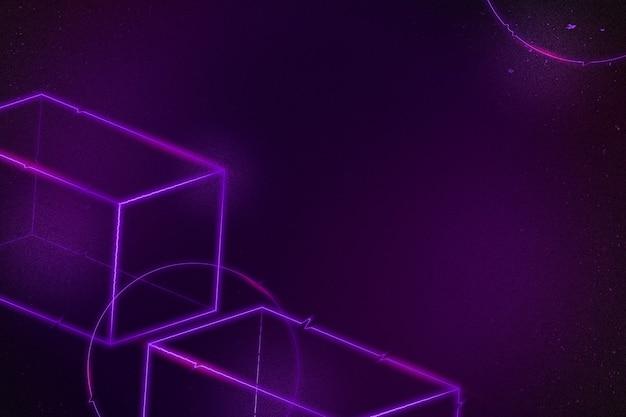 Geometryczne fioletowe neonowe tło prostopadłościanu 3d