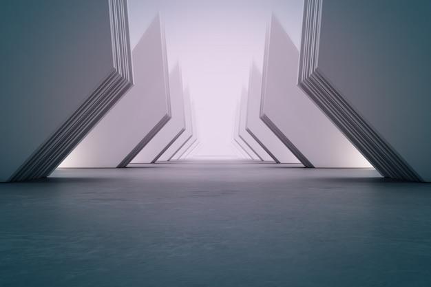 Geometryczne kształty struktury na pustej betonowej podłodze z białą ścianą w hali lub nowoczesnym salonie.