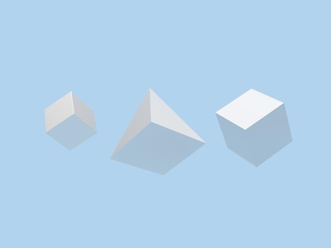 Geometryczne kształty sześcian i piramida