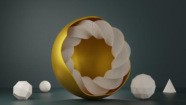 Geometryczne kształty ze złotą okrągłą ramą. krąg spiralny, piramida, ikosfera, kula. nowoczesne tło do pokazu wzornictwa produktów w modnych kolorach 2021 roku.