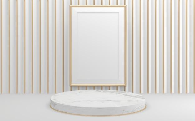 Geometryczne makiety renderowania 3d w stylu pustego białego podium