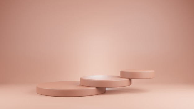 Geometryczne podium z różowym kolorem na różowym tle pusta gablota do prezentacji produktów, takich jak kosmetyki do renderowania magazynu o modzie