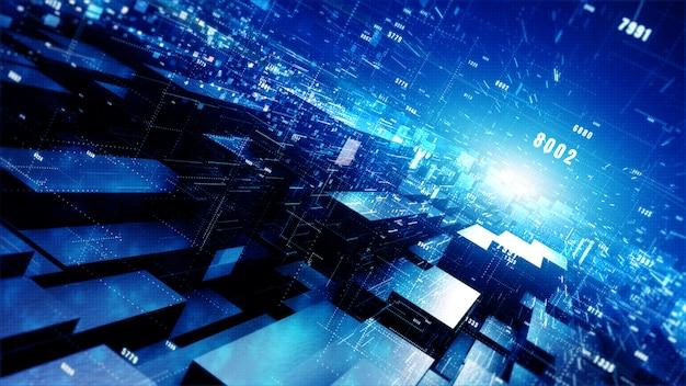 Geometryczne tło cyfrowej cyberprzestrzeni z cząstek i cyfrowych połączeń danych sieci.